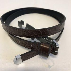 All Saints Croc leather belt Brown Large